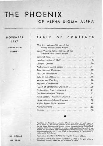 Asa Phoenix Vol 33 No 1 Nov 1947 By Alpha Sigma Alpha Sorority Issuu