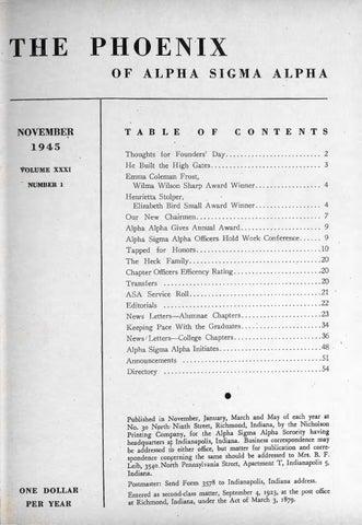 Asa phoenix vol 31 no 1 nov 1945 by Alpha Sigma Alpha