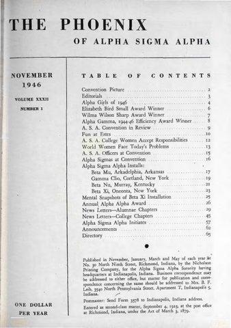 Asa Phoenix Vol 32 No 1 Nov 1946 By Alpha Sigma Alpha Sorority Issuu