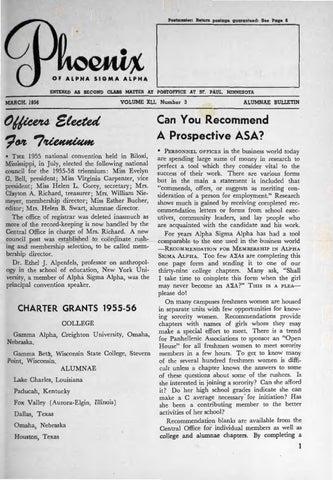 Asa phoenix vol 41 no 3 mar 1956 by Alpha Sigma Alpha Sorority - issuu