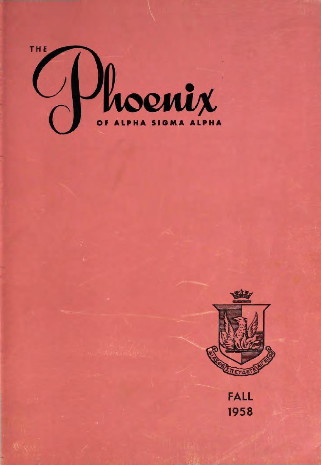 Asa phoenix vol 44 fall 1958 by Alpha Sigma Alpha Sorority