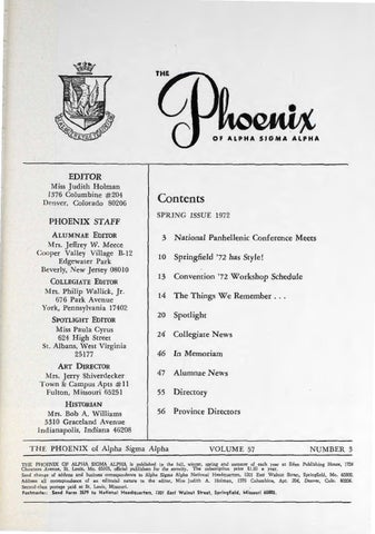 Asa phoenix vol 57 no 3 spring 1972 by Alpha Sigma Alpha Sorority ... f7cb76bd30d1