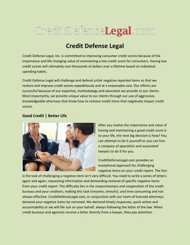 Credit defense legal by credit defense legal issuu credit defense legal credit defense legal inc is committed to improving consumer credit scores because of the importance and life changing value of solutioingenieria Gallery