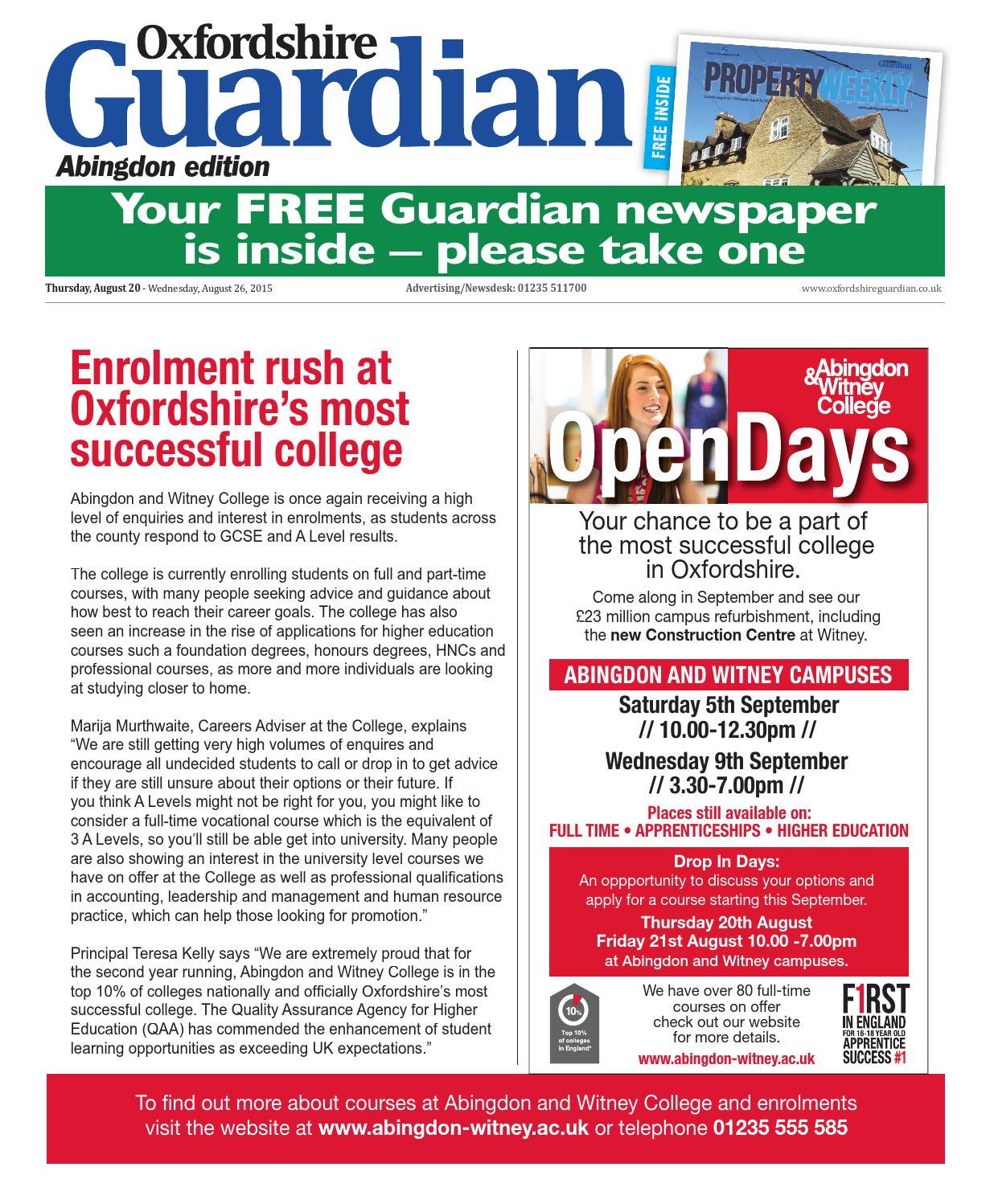 20 August 2015 Oxfordshire Guardian Abingdon By Taylor Newspapers Voucher Deposit Kh Rp 100000 Issuu