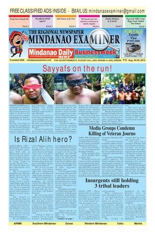 Mindanao Examiner Newspaper Aug  24-30, 2015 by Mindanao Examiner