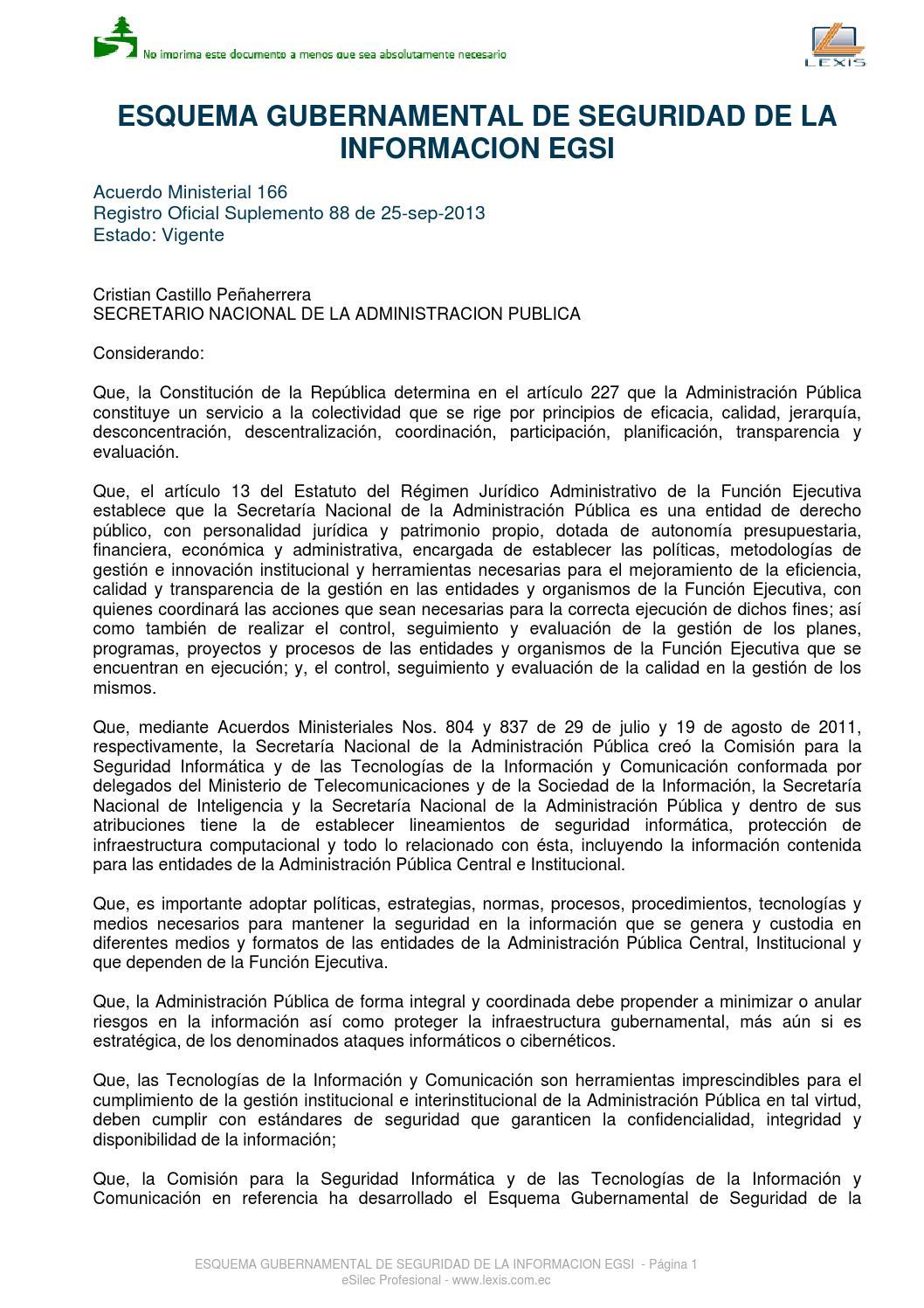 Esquema gubernamental de seguridad de la información by Andrés Zules ...