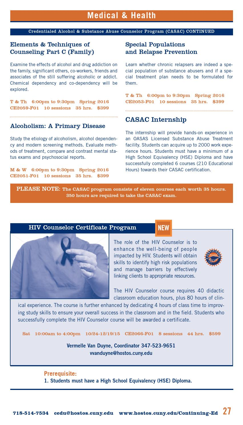 Fall 2015 Continuing Education Catalog By Hostos Community College