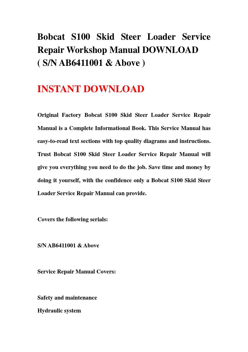 bobcat s100 skid steer loader service repair workshop manual rh issuu com Bobcat Skid Steer Wiring Diagram T650 Bobcat Wiring Diagram
