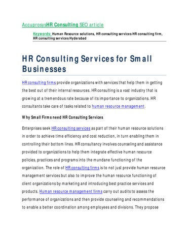 Accuprosyshr Consulting Seo Article Keywords Human Resource Solutions Hr Services Firm Hyderabad