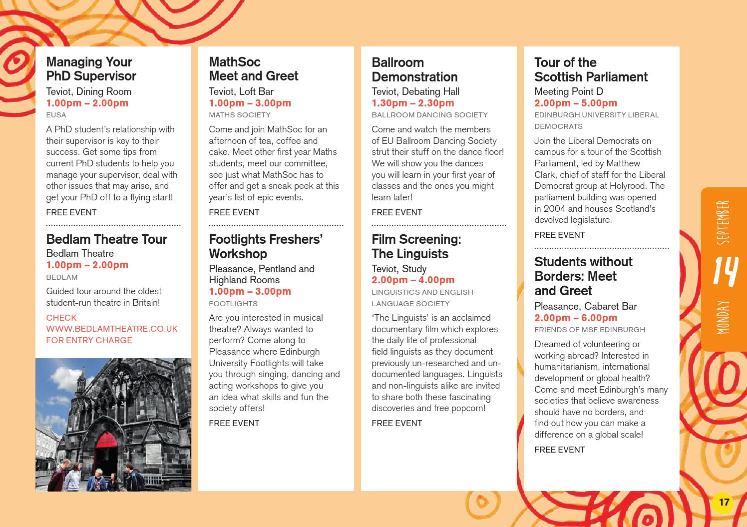 Eusa Freshers Week 2015 Whats On Guide By Edinburgh University
