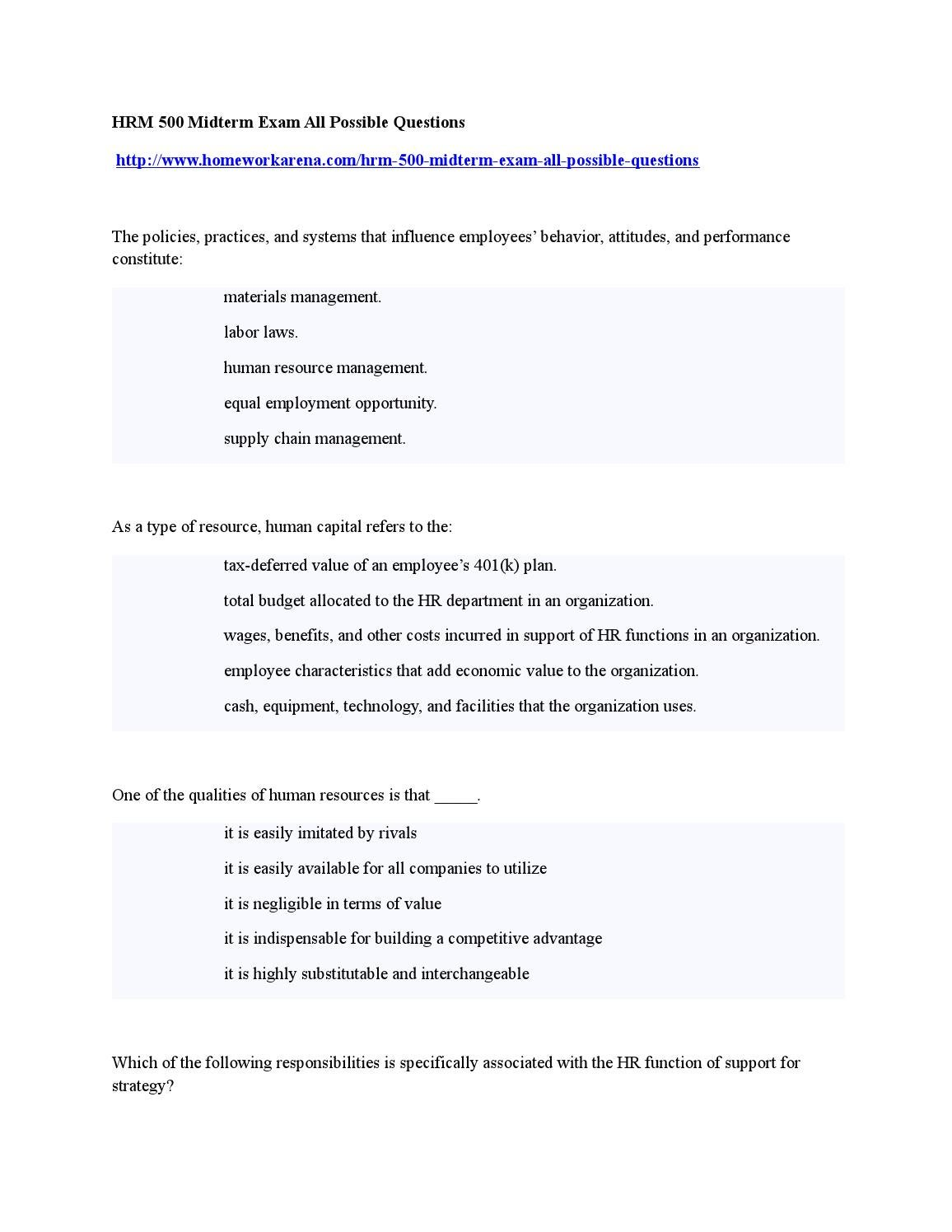 Hrm 500 midterm exam all possible questions by HomeworkStock - issuu