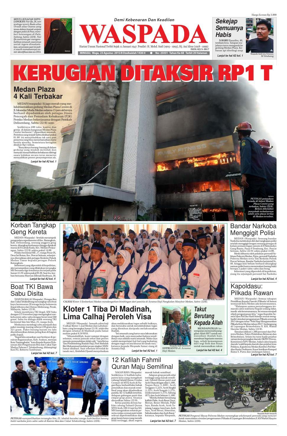 Waspada Minggu 23 Agustus 2015 By Harian Issuu Zaskia Mecca Fae Tunik Tembaga