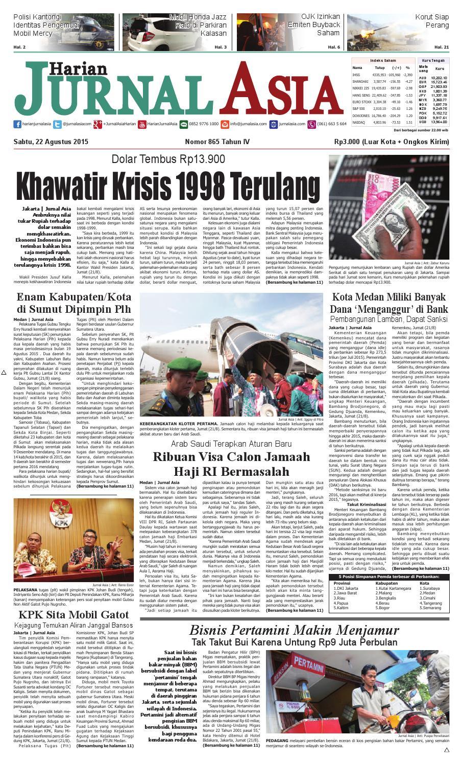 Harian Jurnal Asia Edisi Sabtu 22 Agustus 2015 By Harian