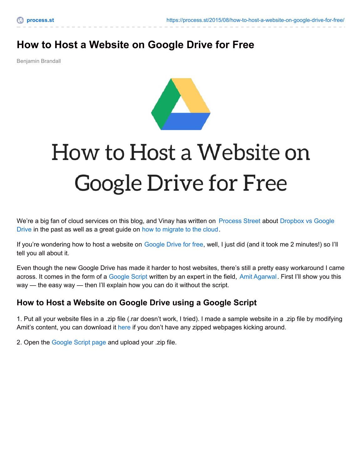 How to Host a Website on Google Drive for Free by