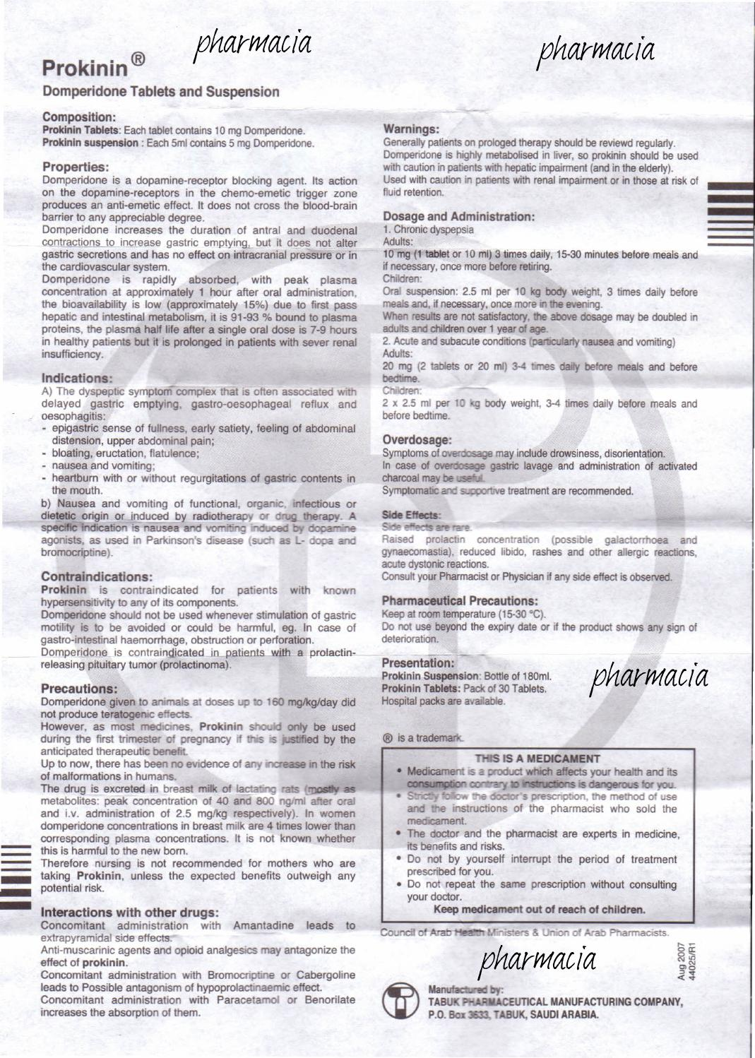 Dostinex 0 5mg tablets.doc - Prokinin Tablet Susp Patient Information Leaflet By Pharmacia1 Issuu