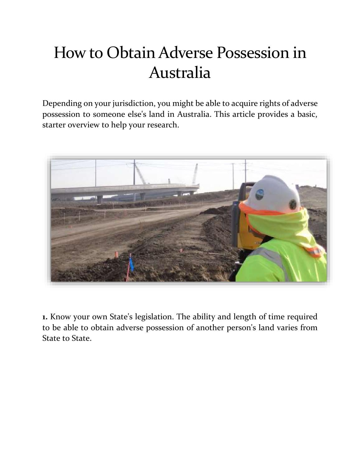 How to Obtain Adverse Possession in Australia