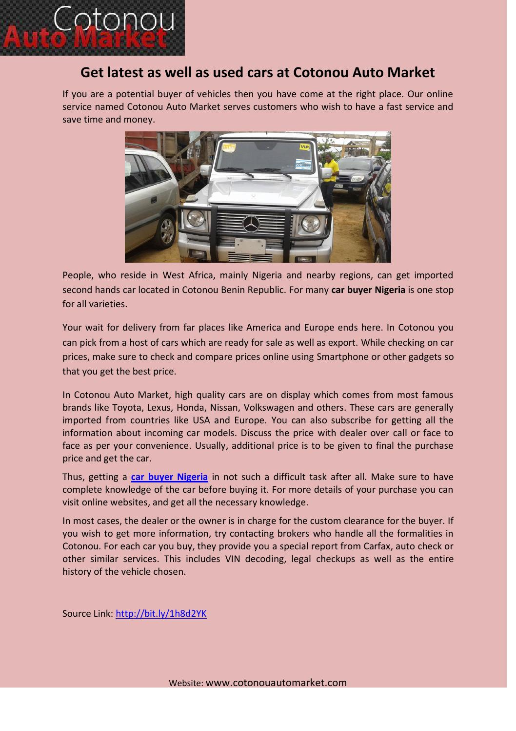 Get latest as well as used cars at Cotonou Auto Market by Alison ...