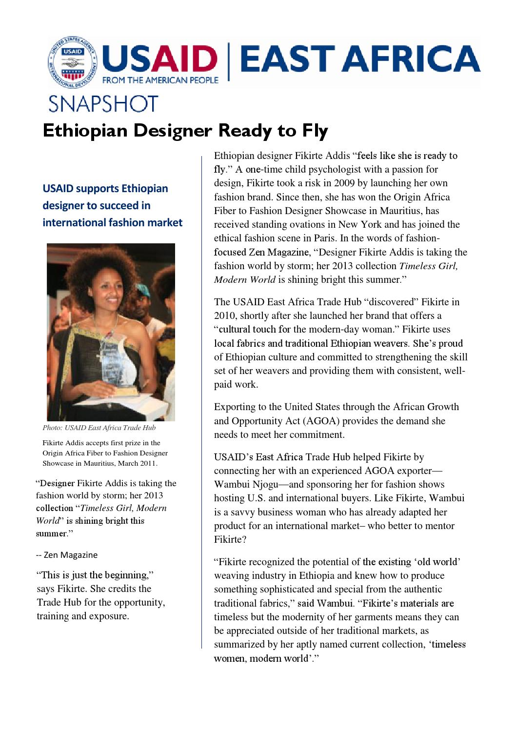Ethiopian Designer Ready to Fly by East Africa Trade and Investment