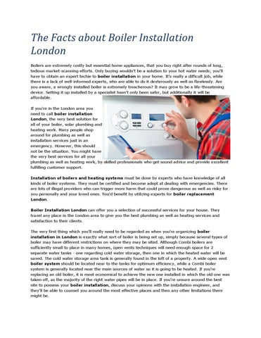 The Facts about Boiler Installation London by ASAP Plumbers - issuu
