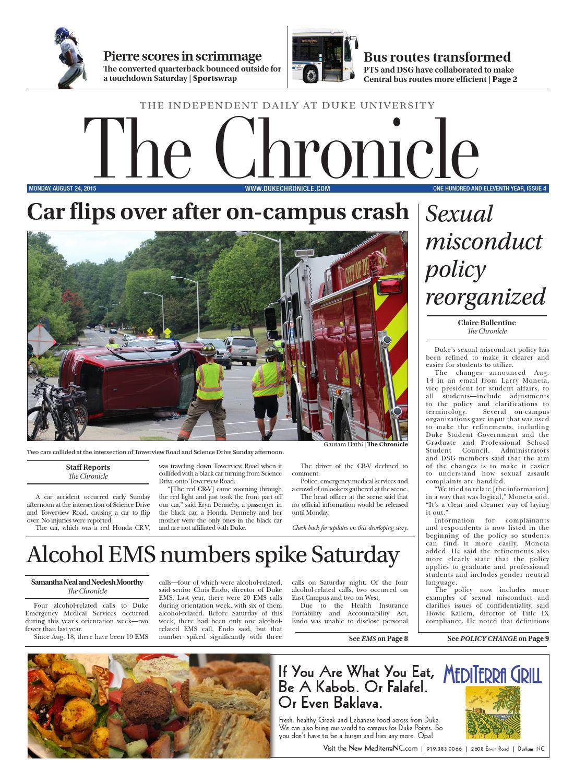 August 24, 2015 by Duke Chronicle - issuu
