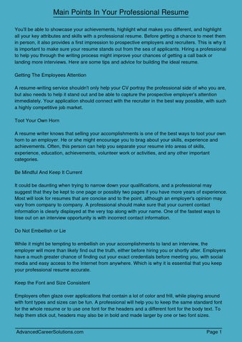 Main Points In Your Professional Resume By Dsell30175 Myatar Com Issuu