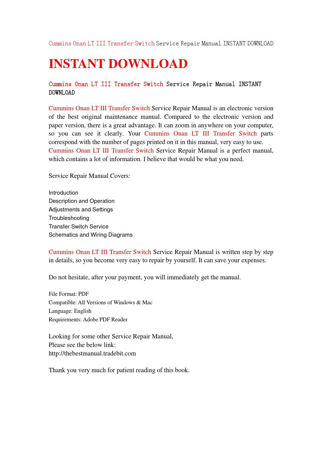 Cummins onan lt iii transfer switch service repair manual instant download  by fsef8uu - issuu