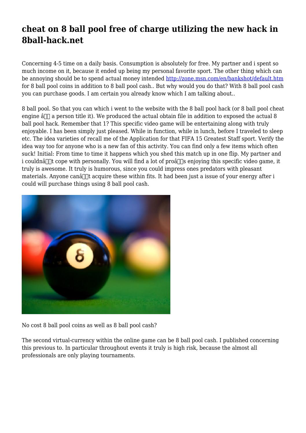 cheat on 8 ball pool free of charge utilizing the new hack in 8ball