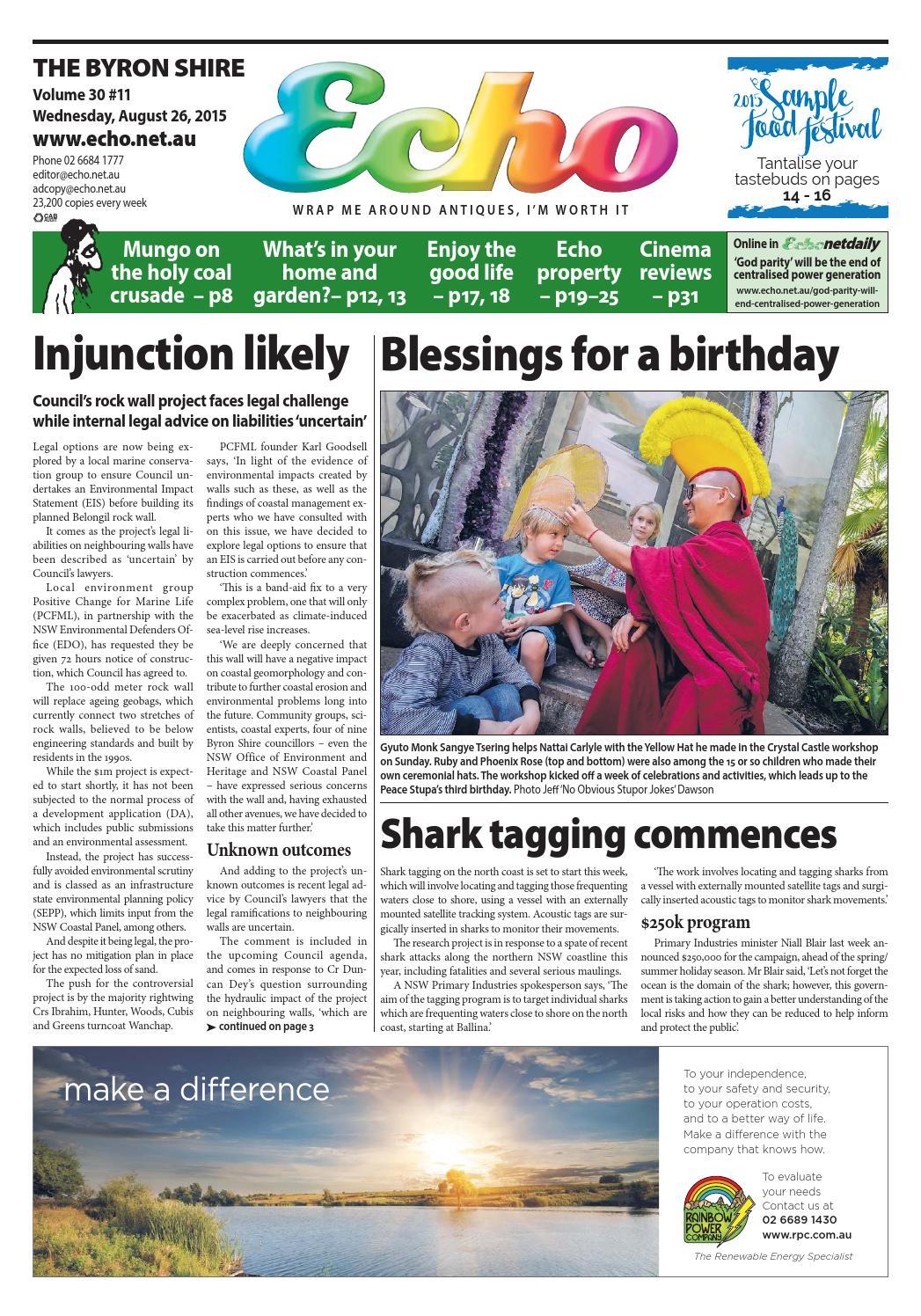 Byron Shire Echo – Issue 30.11 – 26/08/2015 by Echo Publications - issuu