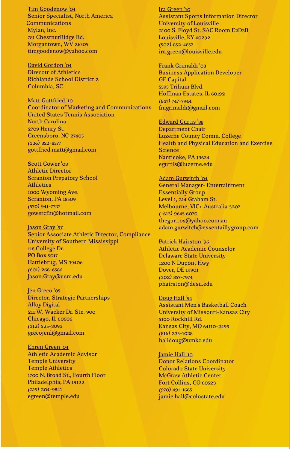 2014-2015 WVU Sport Management Masters Program Alumni by WVU