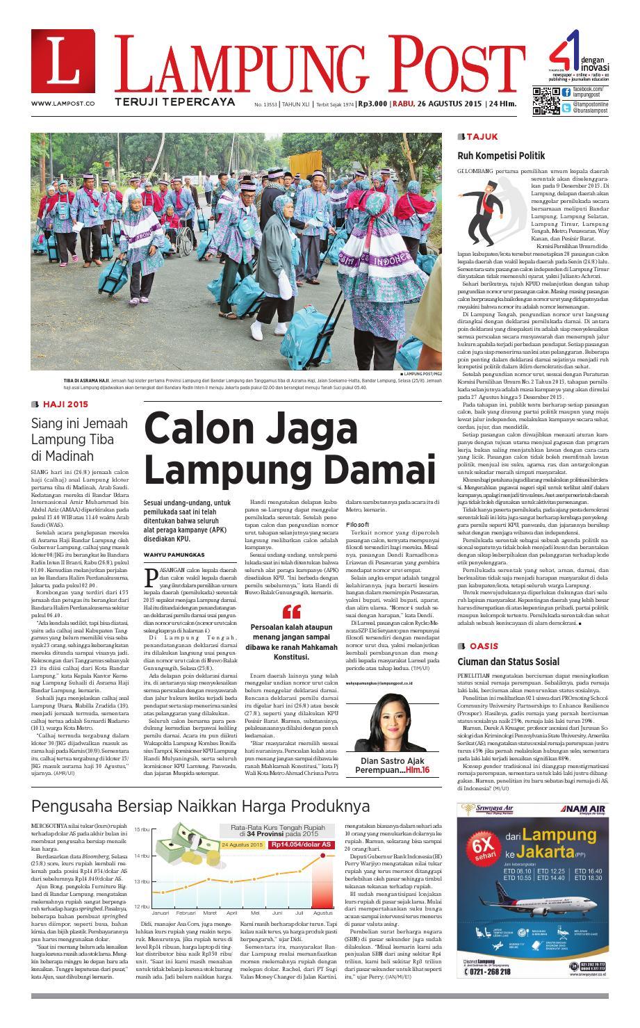 Lampung Post Rabu 26 Agustus 2015 By Issuu Produk Ukm Bumn Tekiro Tang Buaya 10
