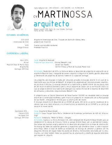 Cv martin ossa 2015s by martin ossa issuu for Curriculum arquitecto