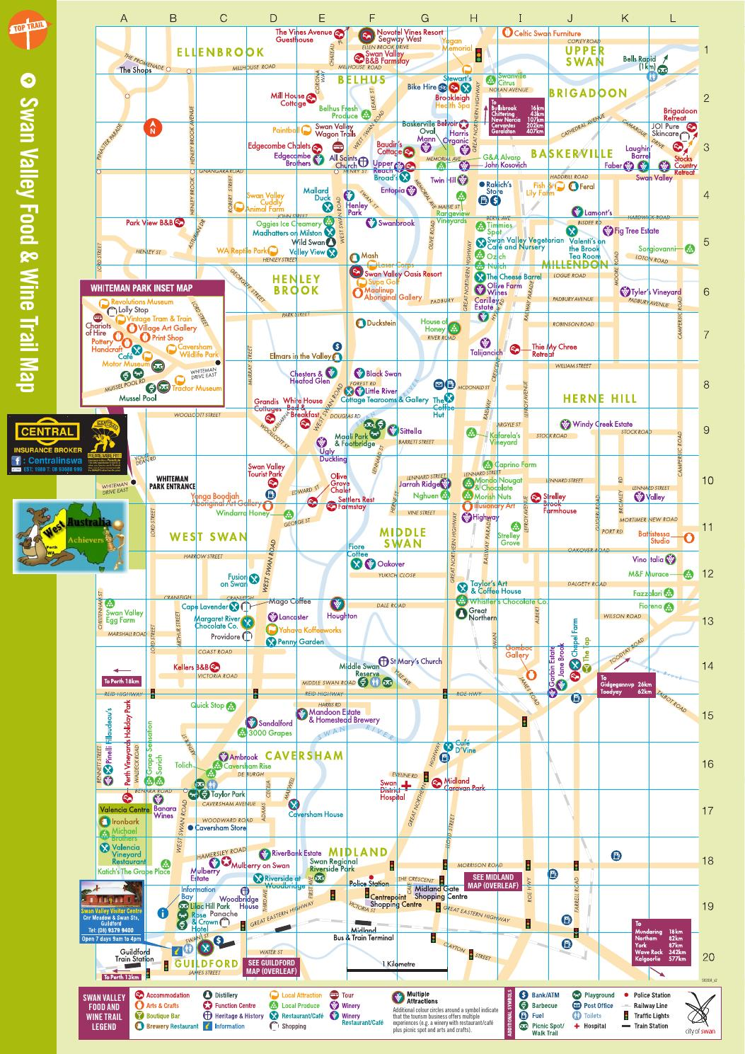 swan valley map wine and food trail by auswathai
