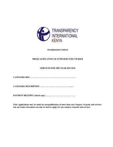 Tender Document For Courier Services By Transparency International