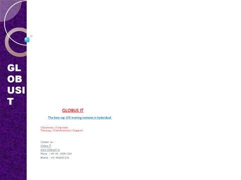Sap ui5 training institutes in hyderabad by Globus IT - issuu