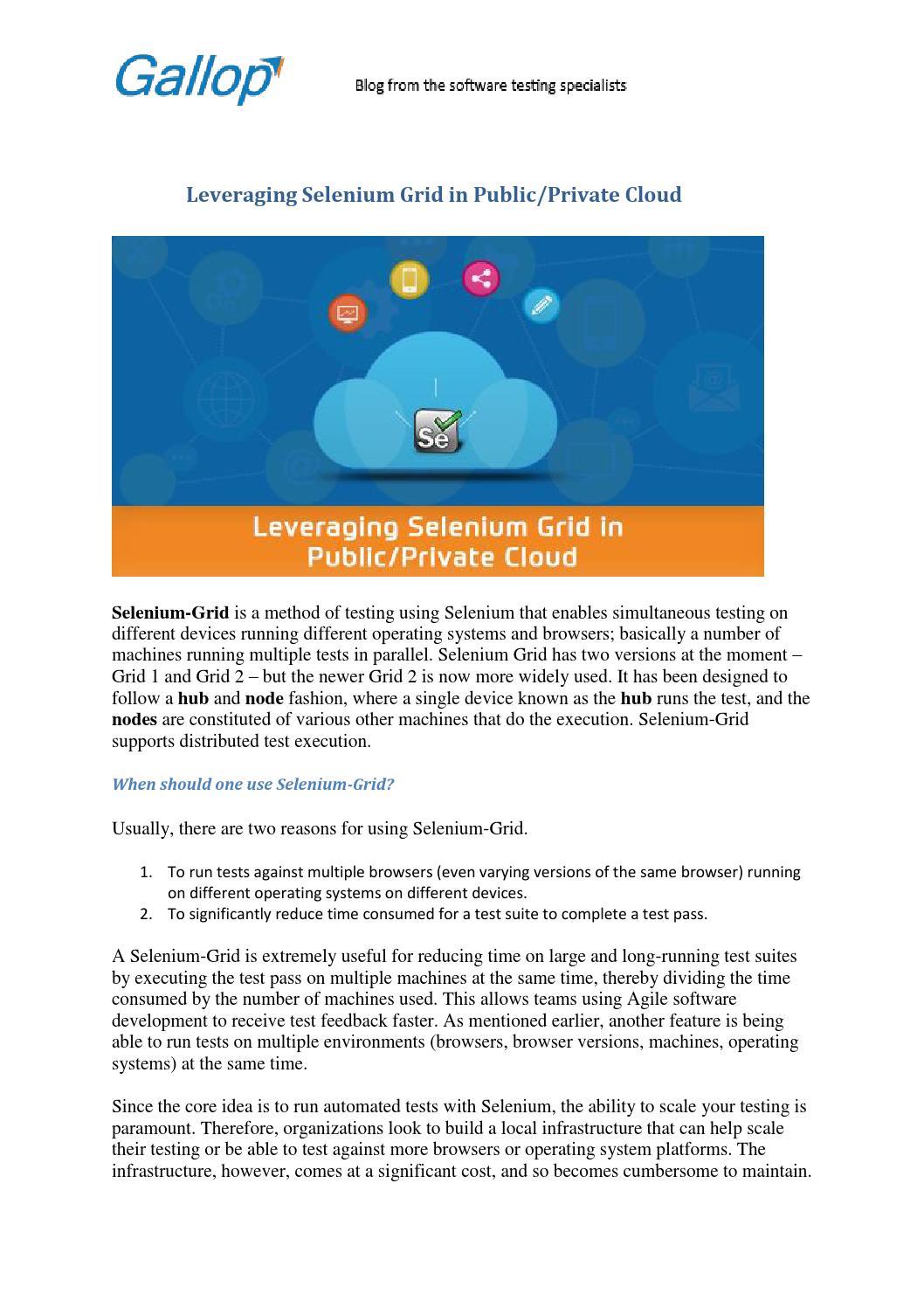 Leveraging Selenium Grid in Public/Private Cloud by Gallop