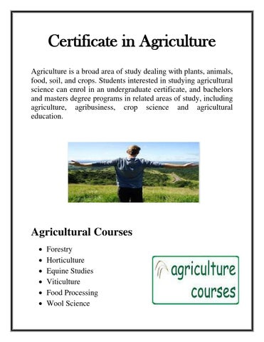 Certificate in Agriculture Courses by ConorHall - issuu