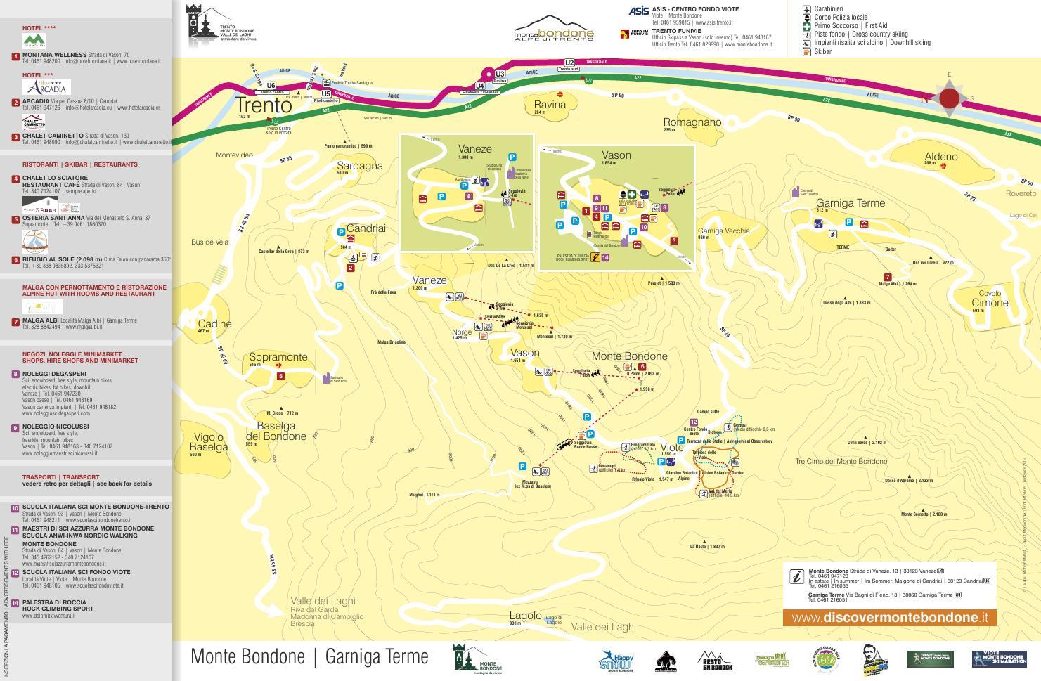 Mappa Piste Skiarea Trento Funivie