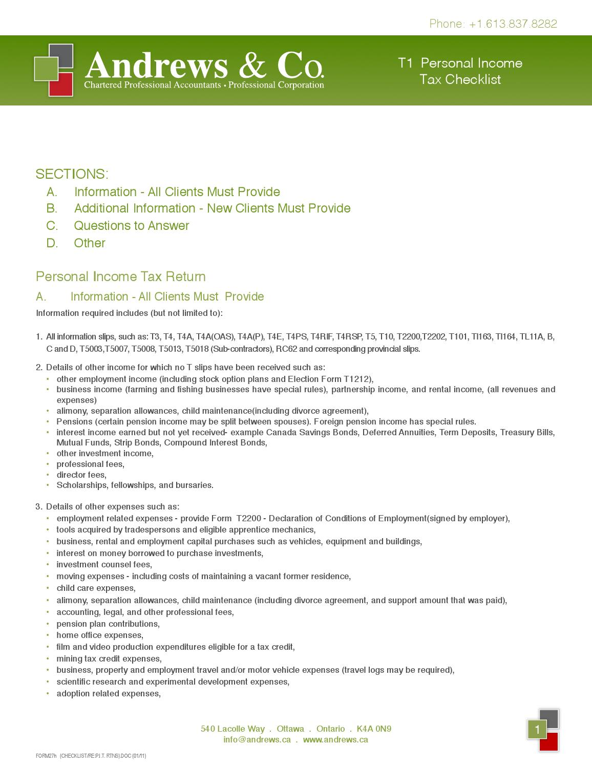 Personal Tax Checklist by Andrews & Co | Chartered