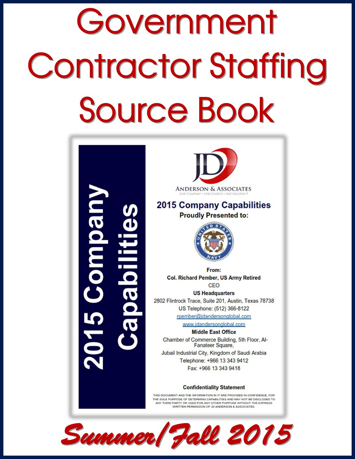 Government Contractor Staffing Source Book by Federal Buyers