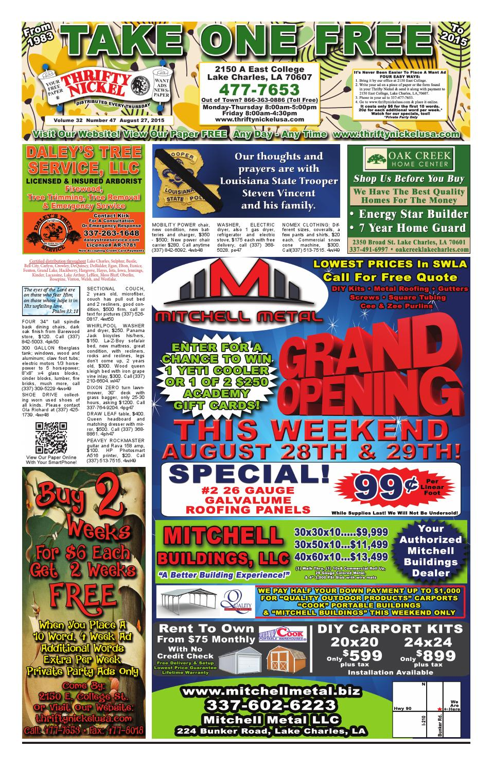August 27 2015 Edition Of The Lake Charles Thrifty Nickel