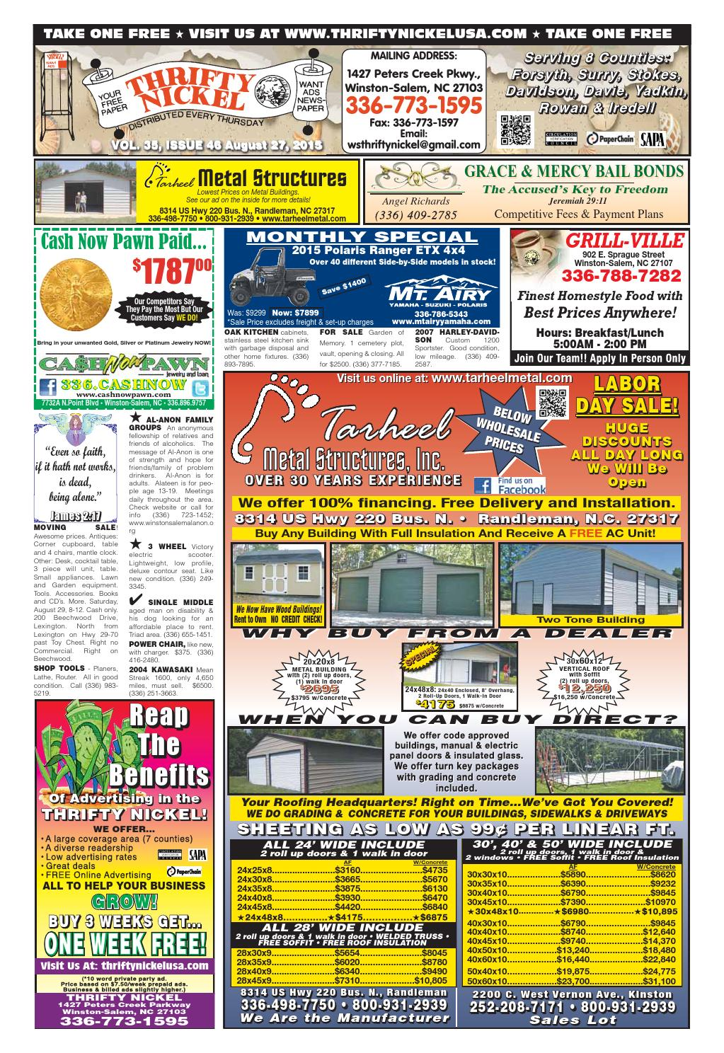 Winston salem thrifty nickel 08 27 15 by winston salem for Pub cash piscine
