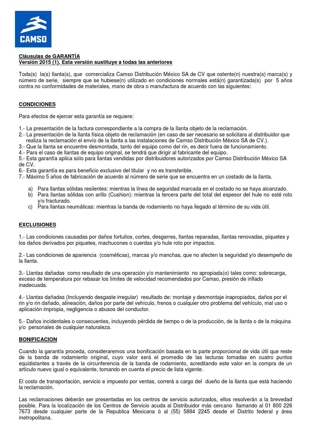 garant u00eda camso m u00e9xico by camsodistribucionmexico