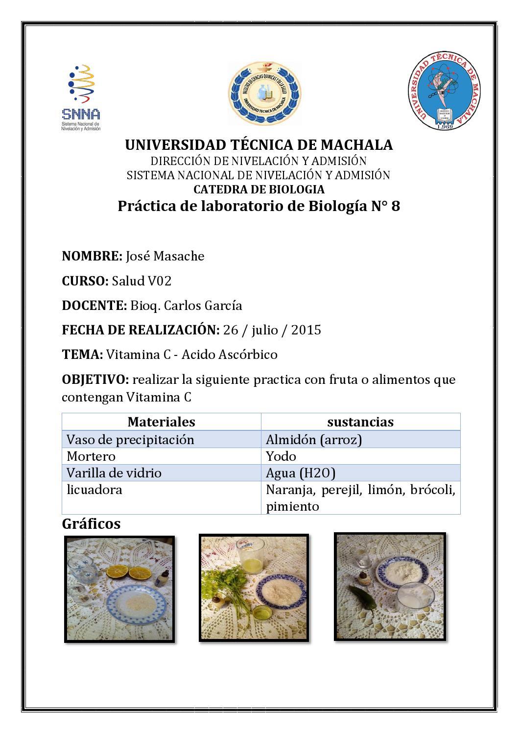 Practica de biologia n 8 by Jose Masache - Issuu