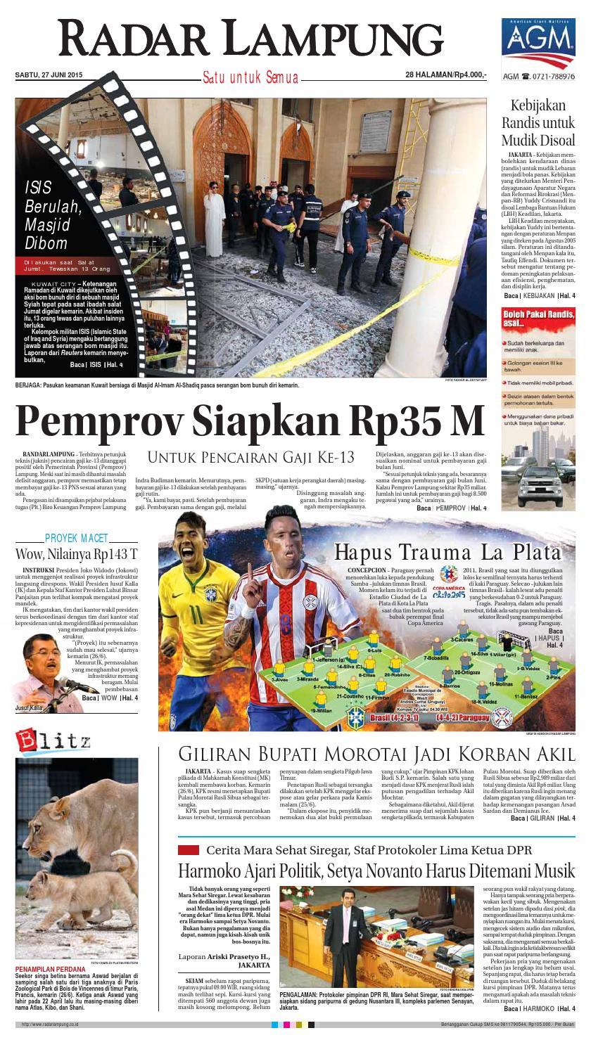 Radar Lampung Sabtu 27 Juni 2015 By Ayep Kancee Issuu Produk Ukm Bumn Jamu Kunyit Asam Seger Waras