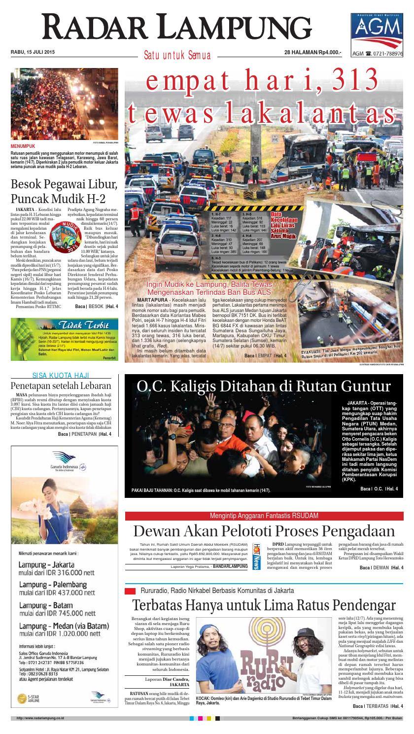 Radar Lampung Rabu 15 Juli 2015 By Ayep Kancee Issuu Loop Ekskul Voucher Map Rp 100000