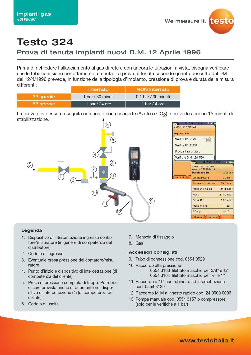 Applicazione testo 324 prova tenuta d m 12 aprile 1996 by testo spa issuu - Tubo gas interrato ...