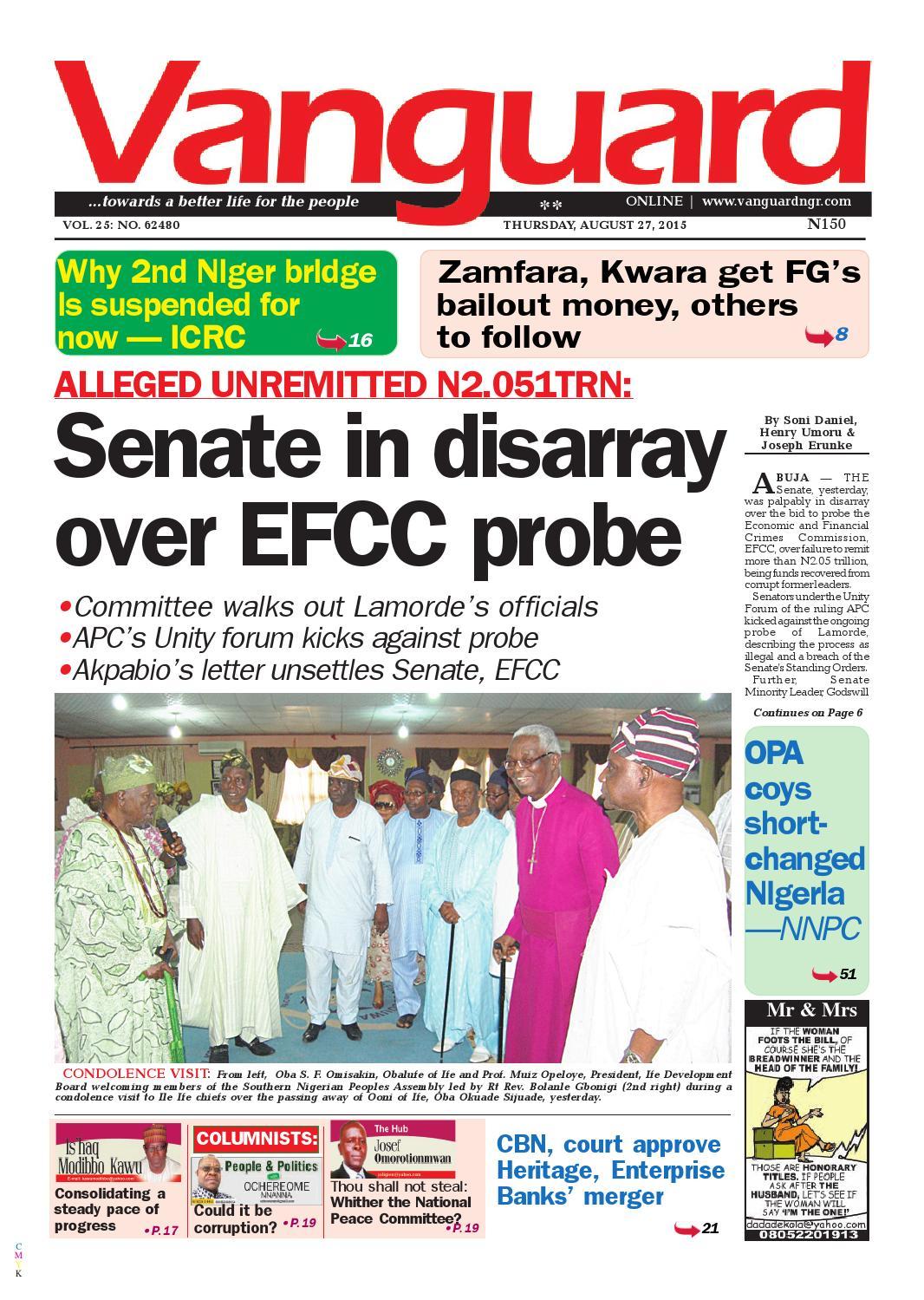 770494ef9820 Senate in disarray over EFCC probe by Vanguard Media Limited - issuu