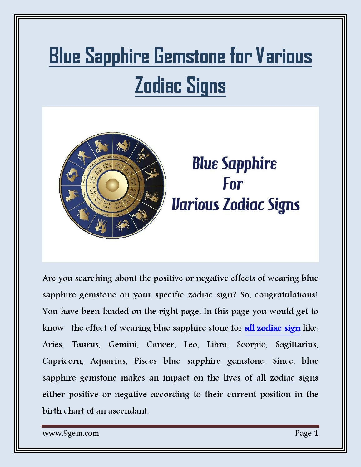Blue sapphire gemstone for various zodiac signs by 9gemdotcom issuu nvjuhfo Image collections