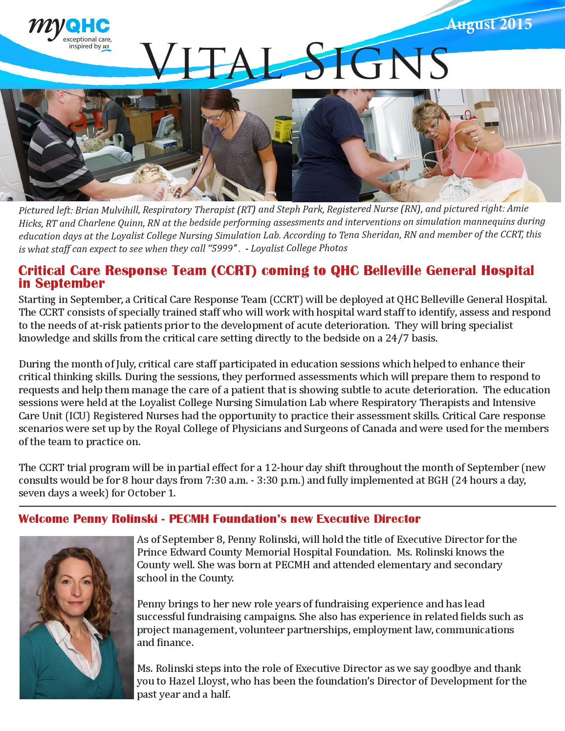 Vital signs august issue by Quinte Health Care - issuu
