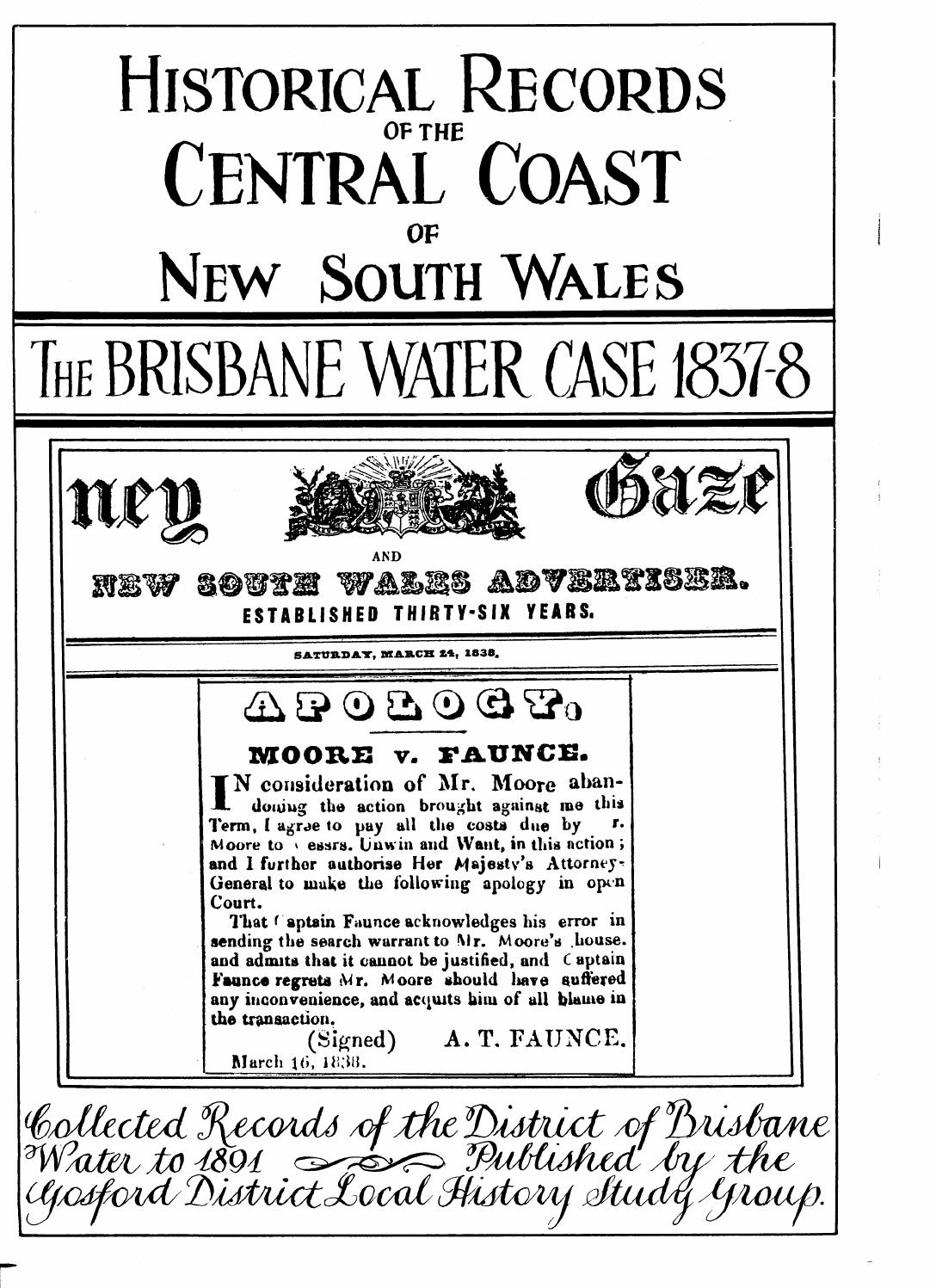 The Brisbane Water Case 1837-8: Historical records of the